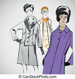 croquis, mode, filles, eps, vecteur, vêtements