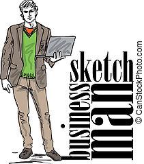 croquis, mode, laptop., illustration, vecteur, homme, beau