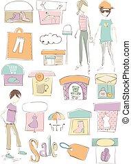 croquis, mode, magasin, illustration, éléments