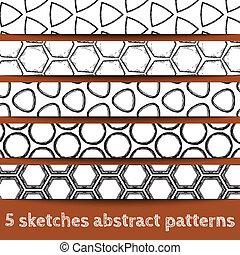 croquis, motifs, géométrique, ensemble, seamless