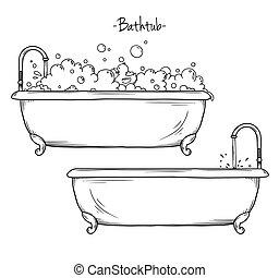 croquis, mousse, style, illustration, bain, caoutchouc, duck., vecteur