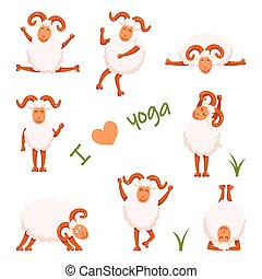 croquis, mouton, rigolote, conception, ton, yoga
