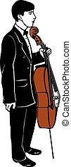 croquis, musicien, jeune, violoncelle, homme