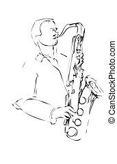 croquis, musicien, saxophone, arcwise