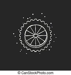 croquis, -, noir, motocyclette, pneu, icône