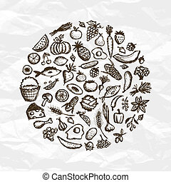 croquis, nourriture saine, fond, conception, ton