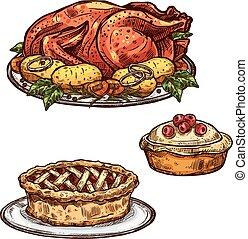 croquis, nourriture, tarte, dîner thanksgiving, turquie, jour