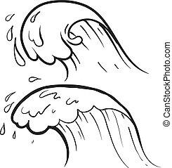 croquis, océan, cresting, vague