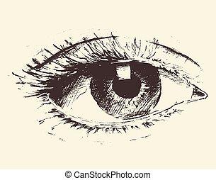 croquis, oeil, vendange, illustration, main, dessiné