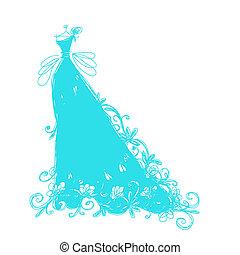 croquis, ornement, conception, floral, robe nuptiale, ton