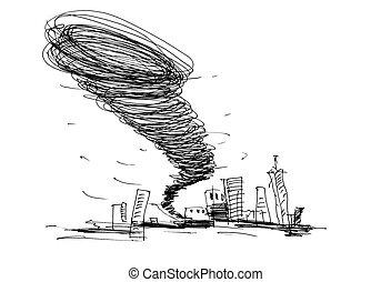 croquis, ouragan