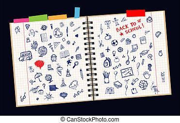 croquis, page, concept, école, conception, ton