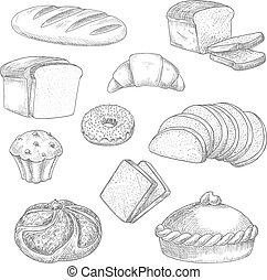 croquis, pain, icônes, isolé, boulangerie, vecteur, patisserie