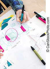croquis, papier, artist's, dessin, main