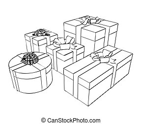 croquis, paquets, cadeau