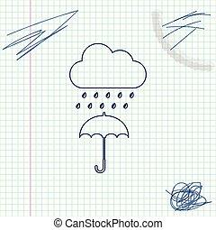 croquis, parapluie, goutte, isolé, pluie, arrière-plan., vecteur, illustration, ligne, nuage blanc, icône