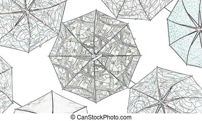 croquis, parapluies, style, beaucoup, animation