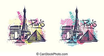 croquis, paris, résumé, illustration, couleur, vecteur, dessin