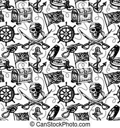 croquis, pattern., seamless, illustration, main, vecteur, dessiné, pirate