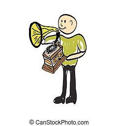 croquis, phonographe, illustration