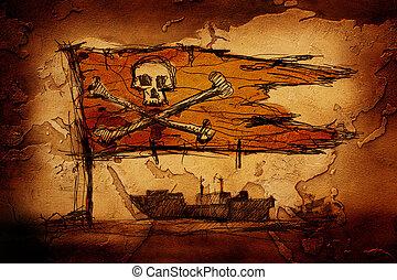 croquis, pirates, mer