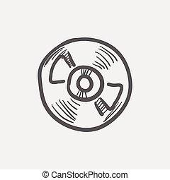 croquis, pont, joueur, magnétophone, bobine, icône