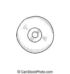croquis, pont, joueur, magnétophone, bobine, icon.