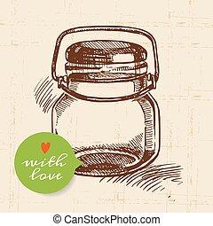 croquis, pot., vendange, main, rustique, dessiné, mise en conserve, maçon, design.