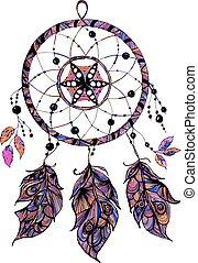 croquis, preneur, indien, isolé, illustration, arrière-plan., vecteur, blanc, rêve, style.