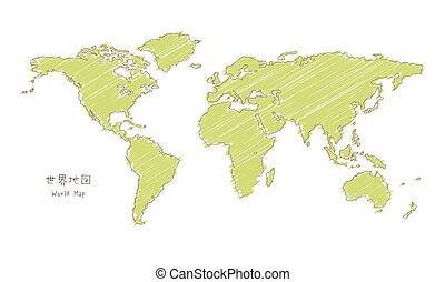 croquis, projection, carte, hand-drawn, mercator, mondiale