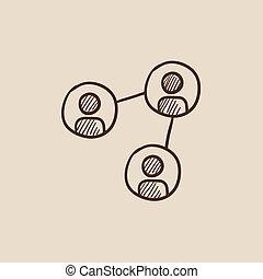 croquis, réseau, icon., social