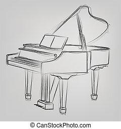 croquis, résumé, illustration, vecteur, piano queue