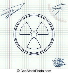 croquis, radioactif, signe., radiation, isolé, danger, symbole., arrière-plan., vecteur, illustration, toxique, ligne, blanc, icône