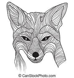 croquis, renard, symbole, animal