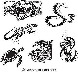 croquis, reptiles, animaux, mer