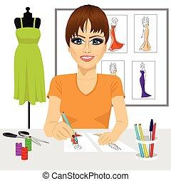 croquis, robe, concepteur, conception, dessin