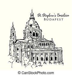 croquis, rue., dessin, basilique, stephen, illustration
