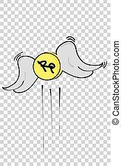 croquis, rupiah, illustration, effet, main, simple, fond, dessiner, monnaie, transparent, perdu, vecteur
