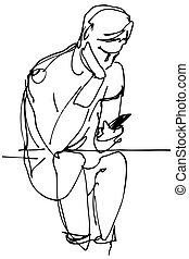 croquis, séance, regarder, téléphone, vecteur, homme