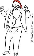 croquis, santa, business, clause, lignes, isolé, illustration, main, vecteur, arrière-plan noir, complet, dessiné, blanc, griffonnage