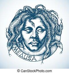 croquis, serpents, mythologique, cheveux, endroit, méduse, portrait