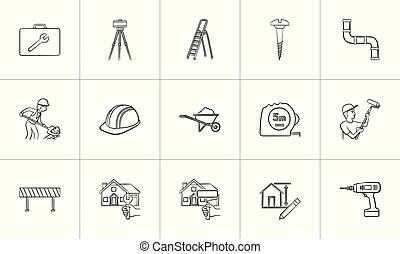 croquis, set., main, construction, dessiné, icône