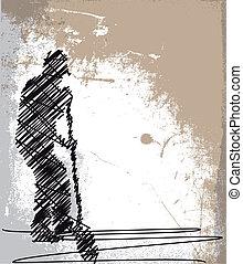 croquis, shovel., résumé, ouvrier, illustration, vecteur, creuser