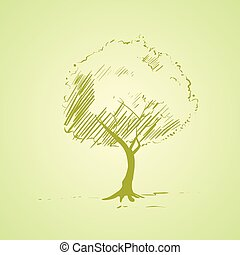 croquis, silhouette, arbre, clair, vecteur, vert