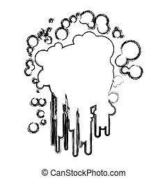 croquis, silhouette, brouillé, peinture eclabousse, encre, icône