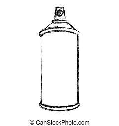 croquis, silhouette, pulvérisation, aérosol, bouteille, récipient