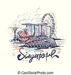 croquis, singapour, couleur, résumé, illustration, vecteur, dessin