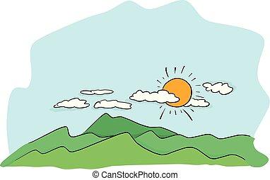 croquis, soleil, lignes, isolé, illustration, main, vecteur, noir, paysage, fond, griffonnage, dessiné, blanc, moubtain