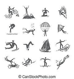 croquis, sports, extrême, icônes