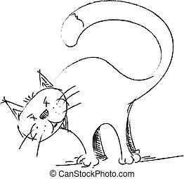 croquis, style, dessin, chat